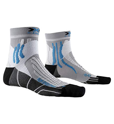 X-Socks Run Speed Two Socks, Calzini da Corsa Unisex-Adulto, Pearl Grey/Opal Black, 45-47