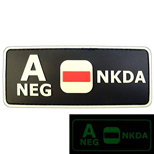 2AFTER1 Glow Dark A NEG Blood Type NKDA Combat Tactical PVC Rubber 3D GITD Touch Fastener Patch