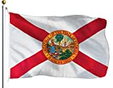 G128 - Florida Flag 3x5 ft Printed Flag 2 Brass Grommets Quality Polyester Flag Indoor/Outdoor