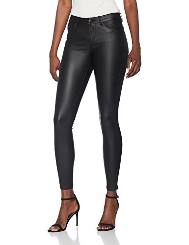 VERO MODA Damen Vmseven NW SS Smooth Coated Pants NOOS Hose, Schwarz (Black Detail:Coated), 40 /L30 (Herstellergröße: L)