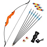 Archery Takedown Recurve Bow and Arrows Set for Beginner Teens Adults 20lbs 30lbs 40lbs Archery Bow Set Youth Bow and Arrow Kit Right and Left Hand (20lbs, Orange)