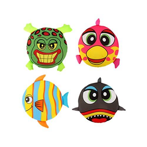Toyvian Frisbee Weichen Stoff Cartoon Tierform Fliegende Platten für Kinder Outdoor Pädagogisches Werkzeug 4 Stück (Zufällige Muster)