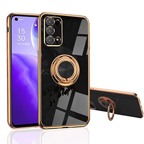 Hülle für Oppo Find X3 Lite - Slim Fit [Drehring Ständer] [Luxuriöse Gold Metall Farbe] Silikon Weiche TPU Abdeckung [Stoßfest] (Find X3 Lite, Schwarz)