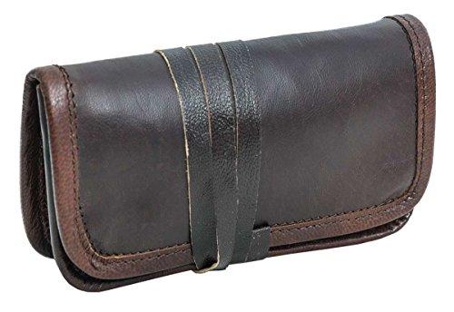 Bolso para Tabaco de Cuero Gusti Leder Otis Bolso para Tabaco de Liar Accesorio Cuero de Cabra Marrón Oscuro 2A2-51-2