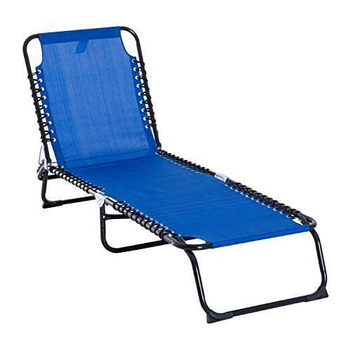 Outsunny Chaise Lounge 3 Adjustable Positions Reclining Beach Chair Folding Chair with Comfort Ergonomic Design, Dark Blue