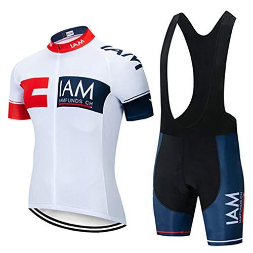 Conjunto De Ciclismo para Hombre,Maillot Ciclismo Hombre Corta Ropa Ciclismo + Culote con 3D Almohadilla De Gel para Bicicleta Montaña Conjunto Ciclismo Deportivo (3,XL)
