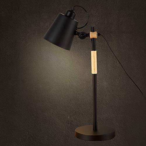 GUOCAO Luz Lámparas de mesa, personalidad simple American Iron Cafe de la lámpara, la sala de estar dormitorio Den creativo de noche las luces de lectura la noche la luz, blanca Mesa (Color : Black)