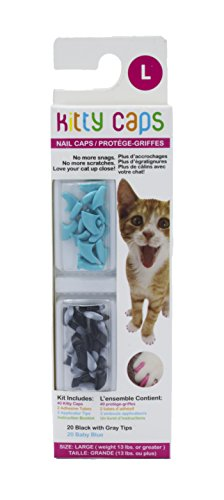 Kitty Caps Kitty Caps Nail Caps for Cats | Safe & Stylish Alternative to Declawing | Stops Snags and Scratches, Large (13 lbs or greater), Black with Gray Tips & Baby Blue (FF9325)