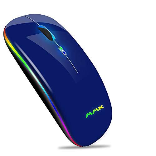 Ratón Inalámbrico Bluetooth Recargable, Ratón Retroiluminado de 7 Colores con Mini Receptor USB de 2,4 GHz, 1200,1600DPI Ajustable,Compatible con Laptop,PC,Ordenador,Chromebook, Notebook-Azul oscuro