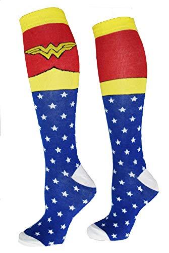 Wonder Woman Superhero Socks, Shoe Size: 4-10 (Knee High, Blue)