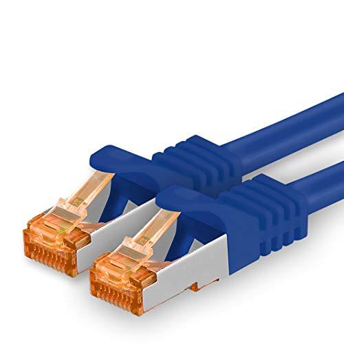 1,5m - Cat.7 Netzwerkkabel Blau - 1 Stück Gigabit Ethernet LAN Kabel 10000 Mbit s Patchkabel Cat7 Kabel S FTP PIMF Schirmung LSZH Cat.7 Rohkabel Rj45 Stecker Cat 6a - 1 x 1,5 Meter