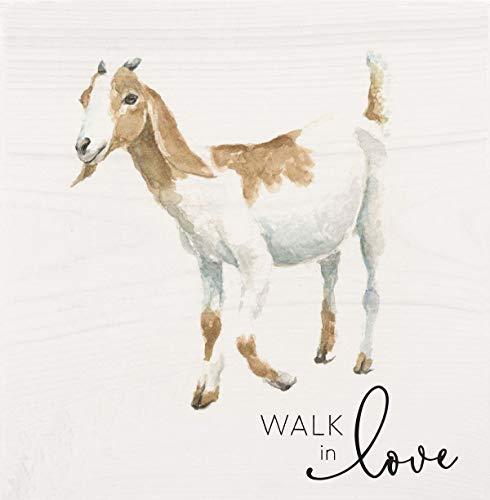P. Graham Dunn Walk in Love Goat Natural Cream 5.375 x 5.375 Kieferholz Deko Wortblock Schild