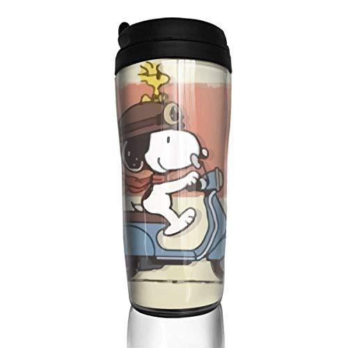 Snoopy fährt Fahrrad Kaffeebecher Travel Mug Thermobecher Isolierbecher Doppelwandig Isolierung Kaffeetasse
