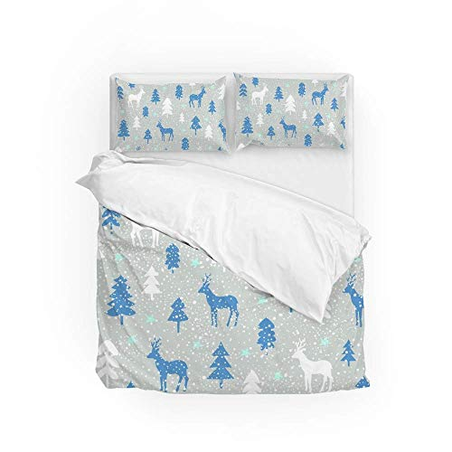 Soft Quilt Bedding Set Christmas Deer Trees Duvet Cover with Pillowcases 2 Pieces Set 135 x 200 CM,Single Size
