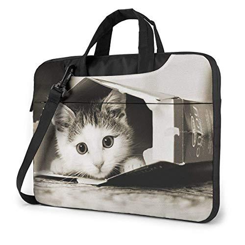 Bolso Bandolera para portátil de 14 Pulgadas, Bolsa Protectora de maletín Little Kitty in Box