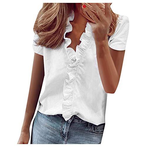 JKRTR - Camisa de mujer estampada de manga corta con volantes, top Slim