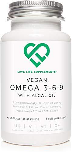 Vegan Omega 3-6-9 with Algal Oil di LLS | 60 Capsule molli - 30 Porzioni | Olio di alghe, olio di oliva, olio di enotera, olio di CLA, vitamina E