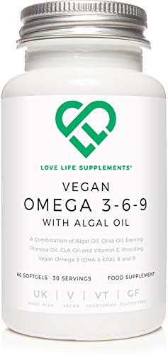 Vegan Omega 3-6-9 with Algal Oil by LLS | 60 Softgels - 30 Servings | Algal Oil, Olive Oil, Evening Primrose Oil, CLA Oil, Vitamin E