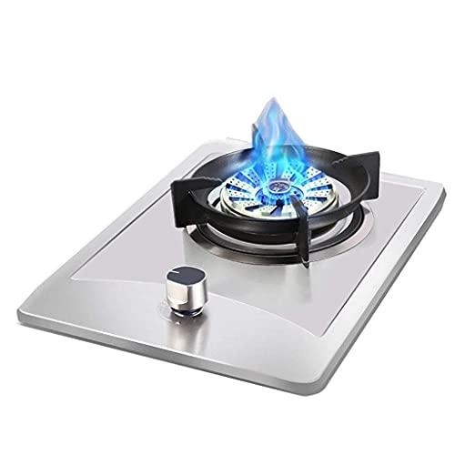 Nueva placa de cocina de gas Placa de cocina de gas de acero inoxidable, placa de cocina portátil, placa de sobremesa / cocina individual empotrada, con protección contra llamas, fácil de limpiar, co