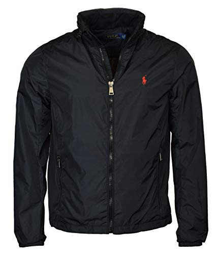 Polo Ralph Lauren Men's Nylon Hooded Windbreaker Jacket - XL - Black