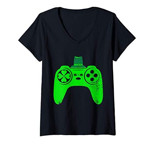 Womens St Patricks Gamer Irish Game Controller Video Games Gaming...