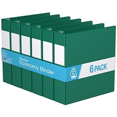 "Premium Economy, Angle D Ring, Binder, 6 Pack (2"", Green)"