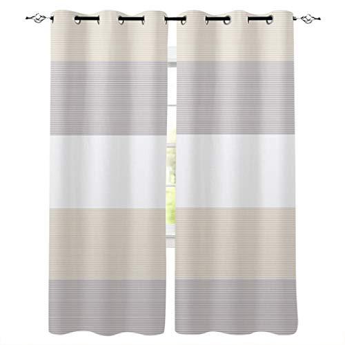 2 Piece Geometric Window Curtain Grommet Panels for Kitchen, Bathroom & Short Windows - Ethnic Stripes Modern Art - 27.5 W x 39 Inch Long Room Darkening Curtains