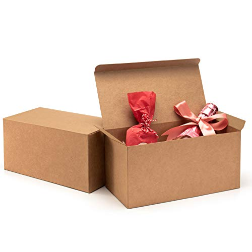 ValBox Premium Gift Boxes 9x4.5x4.5 Inches 12 Pack Brown Recycled Paper Boxes Kraft Favor Boxes for Party, Wedding, Thanksgiving, Gift, Crafting, Cupcake, Easy Assemble Boxes