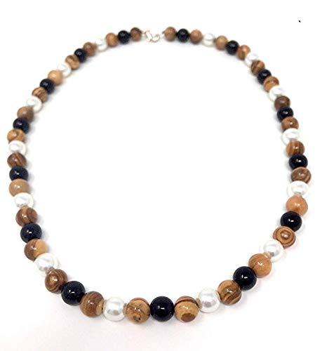 bagusto Halskette mit Perlen aus echten Olivenholz und Schmuckperlen - handgemacht auf Mallorca - Holzschmuck - Schmuck aus Olivenholz