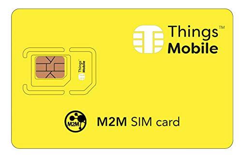 Tarjeta SIM M2M - Things Mobile - Cobertura Global, Red multioperador GSM/2G/3G/4G, sin costes fijos, sin vencimiento y tarifas competitivas con Plataforma de gestión y Control