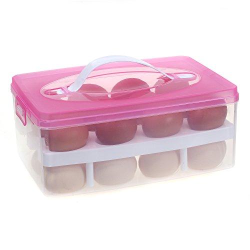 2 Layer Eierhalter für 24 Eier, Eierbehälter Transportbox mit Deckel & Clipverschluss, Eier Aufbewahrungsbox Lagerbehälter Vorratsbox EierBox für Transport, Kühlschrank Küche, Pink, TKD6101 pink