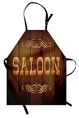 Lunarable Western Apron, Wooden Sign Saloon and Curly Ornaments on a Wood Wall Classic American Bar Print, Unisex Kitchen Bib with Adjustable Neck for Cooking Gardening, Adult Size, Caramel Brown