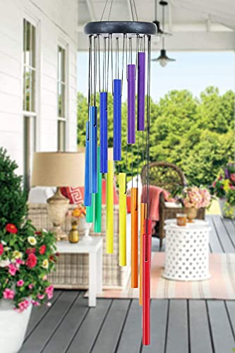 Gorzeny Rainbow Wind Chimes Outdoor, 32 Inch Wind Chimes as Memorial Gift for Mother, Premium Wind Chimes for Patio, Garden, Home Decoration