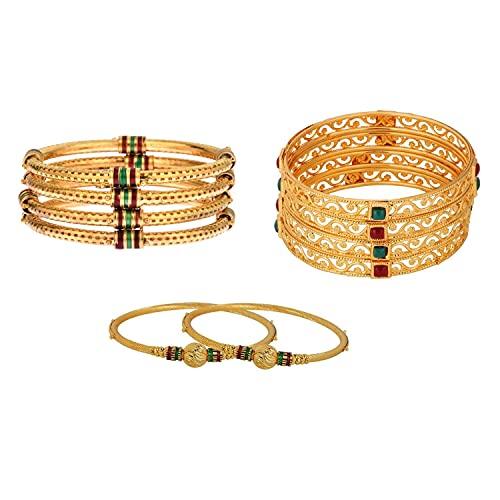 Efulgenz Combo of Boho Antique Indian Traditional Oxidized Gold Plated Crystal Enamel Bracelet Bangle Set Jewelry