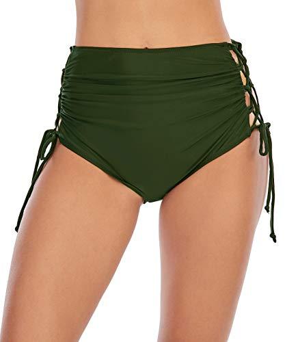 Vivian Women's High Waisted Bikini Bottoms Pleated Adjustable Side Plus Size Swimming Shorts Army Green M