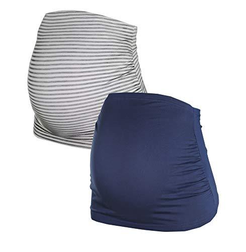 Herzmutter Bauchband für Schwangere - 2er-Set - Baumwolle - Umstands-Schwangerschafts-Bauchbänder - Nieren-Rückenwärmer-Shirtverlängerung - Einfarbig-Gestreift - 6000 (Blau/Gestreift, S, alt)