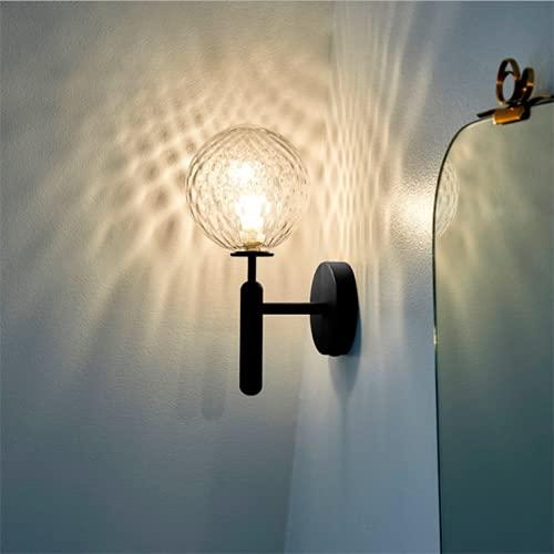 FMGR Aplique Pared Interior LED Lámpara De Pared Moderna para Salon Dormitorio Sala Pasillo Escalera,Pantalla Corrugada, Luz Amarilla Cálida,Negro