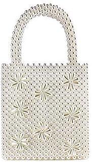BBGSFDC Bolsas de Mujer Bolsa de Mango de Paja Pearls Pearl Pearl 2021 Daily Fecha Blanco (Color : White)