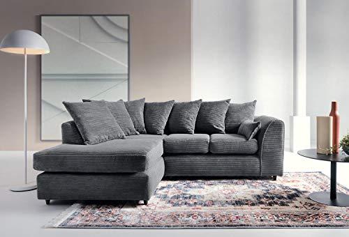 Porto Jumbo Kord Ecksofa, Sofa, Full Chenille Cord in grau Modern grau