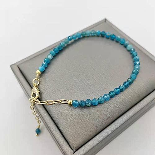 PPuujia Pulsera de Apatita facetada, bellamente ajustable, cadena de oro de 14 quilates, pulsera única para mujer (color de la gema: ajustable, color metal: relleno de oro de 14 quilates)