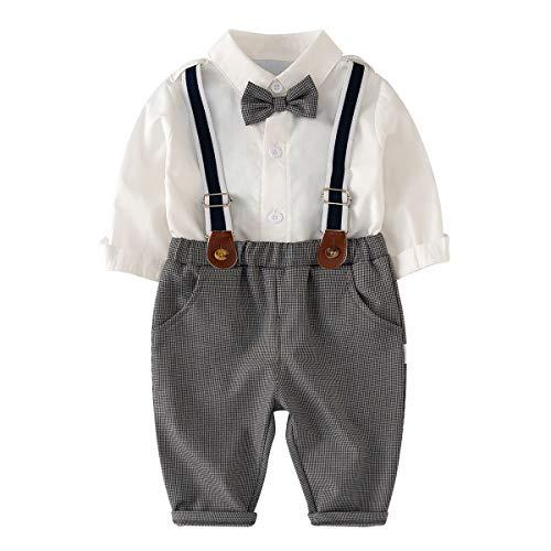 Famuka Baby Junge Taufanzug Kinder Anzug Hochzeit Festanzug (Grau, 80, 12 Monate)