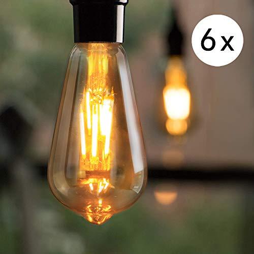 LED Edison Glühbirne E27, 6x Vintage LED Glühlampe, 4W Dekorative Antike Golden Lampen, Warmweiß Filament Bulb Ideal für Nostalgie und Retro Beleuchtung im Haus Café Restaurant, Nicht Dimmbar