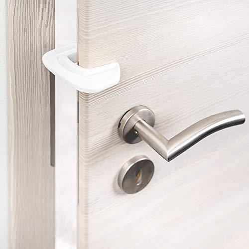 Coona Premium Protección para Puertas bebé - Pack 3 ud. Protector Dedos Seguridad para niños - Tope para puertas blanco