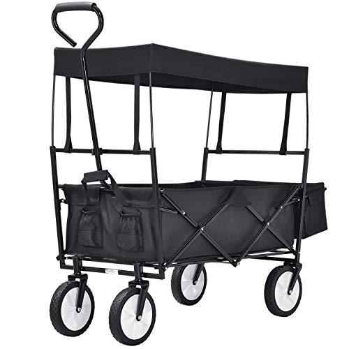 Juskys Bollerwagen faltbar mit Dach und Tasche | Reifen aus Gummi | Transportwagen mit 80 kg Traglast | klappbar | schwarz
