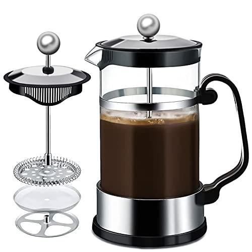 MAISITOO French Press Kaffeebereiter mit Edelstahl Filter 1000 ml, French Coffee Press, Kaffeepresse Kaffeemaschine Kaffeekanne, Cafetière, Kaffeezubereiter, Coffee Press aus Glas(Black)