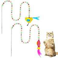 BINGPET Interactive Cat Feather Toys - Cat Wand Toys, 2 Pieces Cat Teaser Toys with Fish and Bird Mo...
