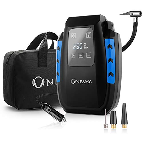 OneAmg Compresseur d'Air Portatif 12V, Compresseur Voiture d'air Digital Portable 12V 120W Auto Gonfleur Pneus,...