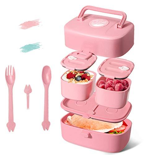 Godmorn Lunchbox für Kinder, Brotdose Kinder mit Griff, Bento Box mit 3 fächern - Besteck Aus Weizenstroh Reisfasern, BPA-Frei, Nachhaltig, Spülmaschinenfest, Mikrowellenfest (Blau)
