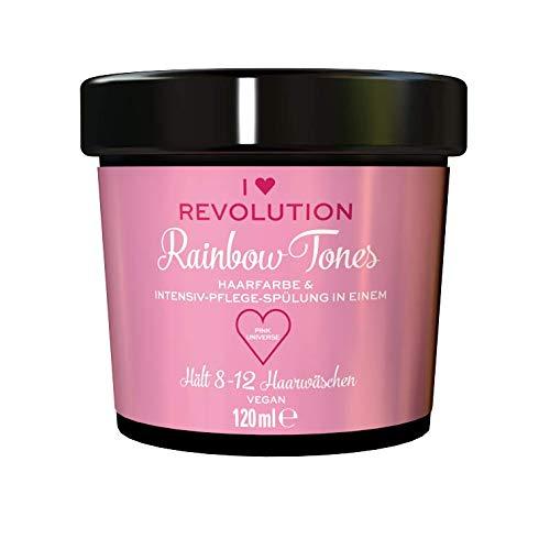 I Heart Revolution Rainbow Tones Pink Universe - semi permanente Haarfarbe und Pflegespülung in einem, auswaschbar mit 8-12 Haarwäschen - vegan, mehrfach verwendbar, 120ml