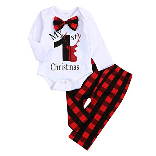 My First Christmas Outfit Baby Boy Bow Tie Romper Bodysuit Xmas Plaid Pants Clothes Set (Plaid, 0-3 Months)